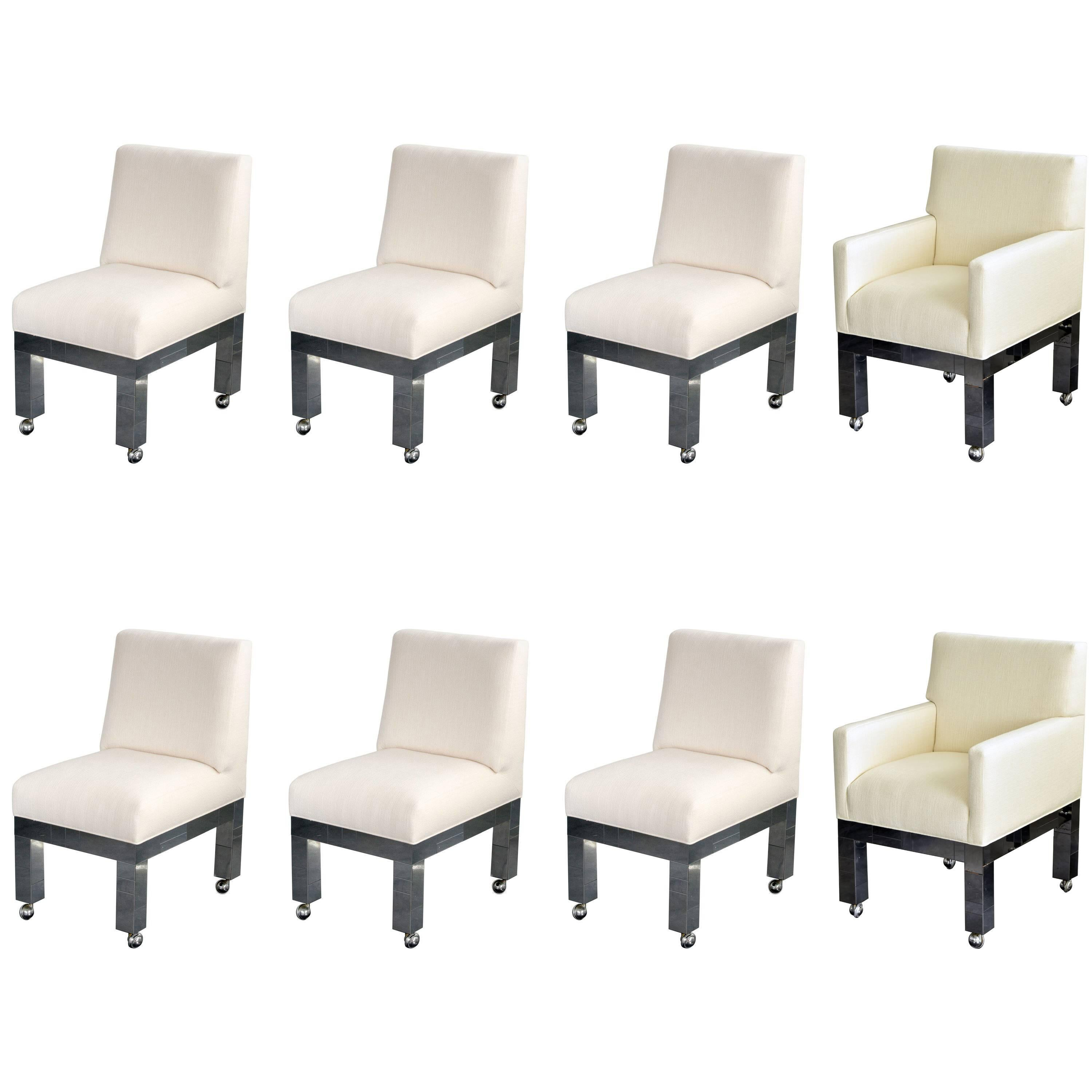 """Paul Evans, """"Cityscape"""" Group of Eight Dining Chairs, White Fabric, circa 1970"""