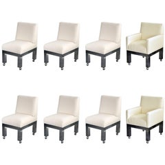 "Paul Evans, ""Cityscape"" Group of Eight Dining Chairs, White Fabric, circa 1970"