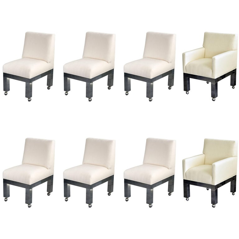 "Paul Evans, ""Cityscape"" Group of Eight Dining Chairs, White Fabric, circa 1970 For Sale"