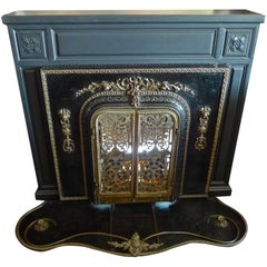 French and American 1960s Metal and Bronze Faux Electric Fire Place and Mantle
