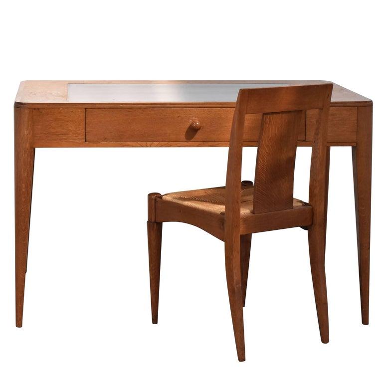 Émile-Jacques Ruhlmann, Oak Desk and Chair, Cité Universitaire de Paris, 1932