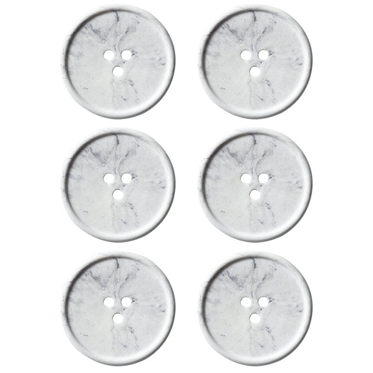 Handmade Cast Concrete Bouton 'S' in Marble by UMÉ Studio, Set of Six