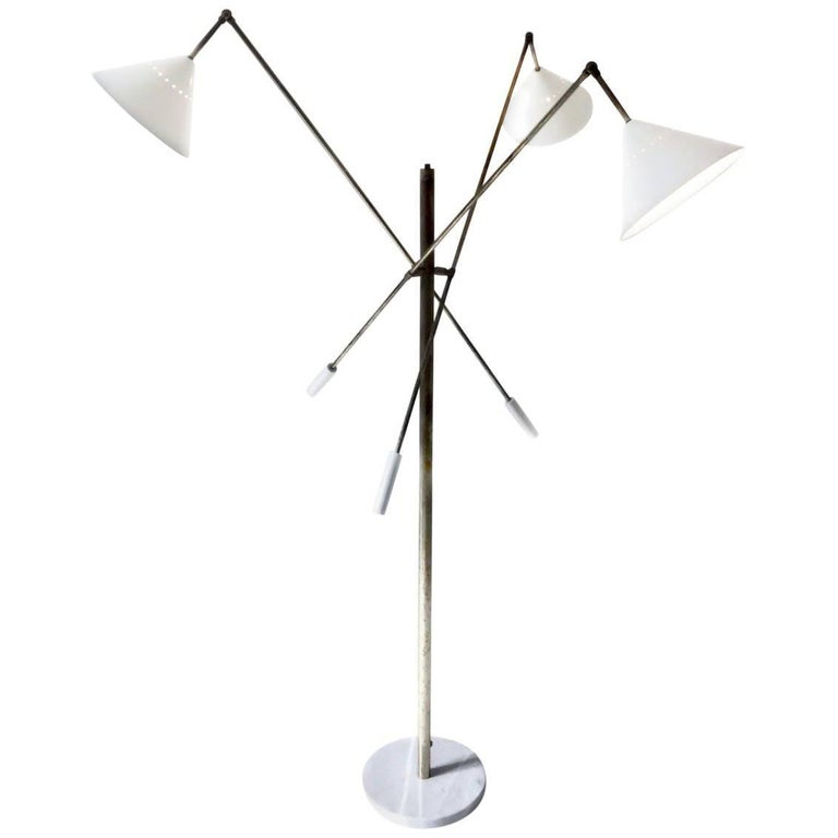 Patinated Brass Floor Lamp, Adjustable Three-Arm 'Triennale' Arredoluce Style