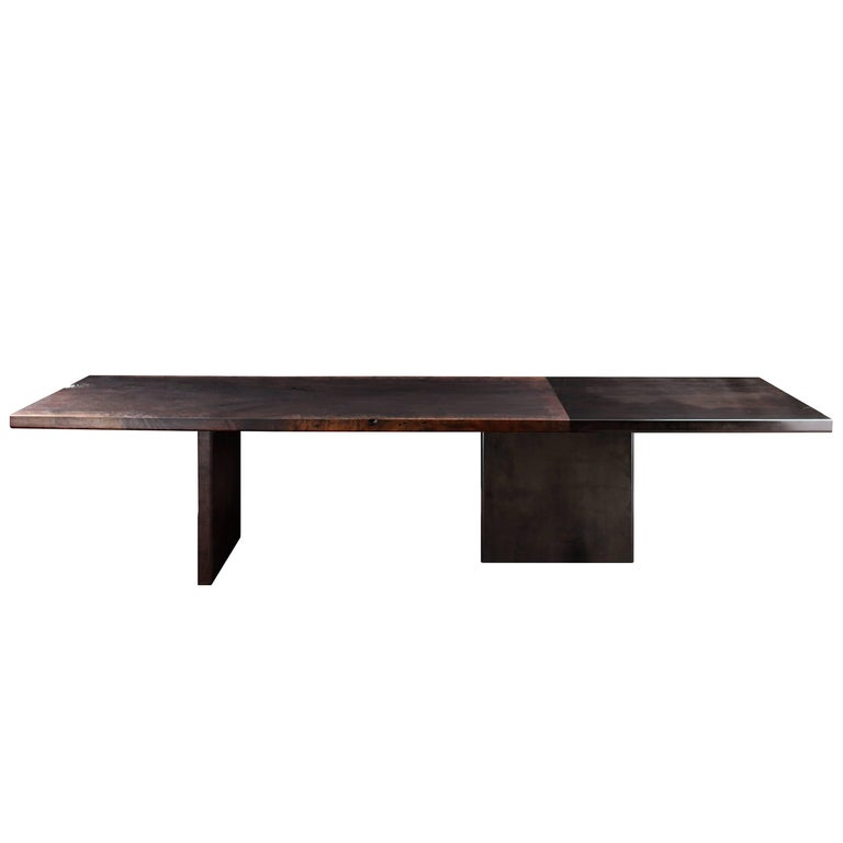 Domus Dining Table in Smoked Walnut and Blackened Zinc by Studio Roeper