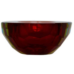 Mandruzzato Murano Sommerso Diamond Faceted Geode Ice Blue and Red Glass Bowl