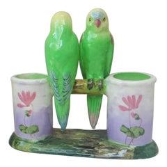 Majolica Parrots Double Vase Jerome Massier Fils, circa 1910