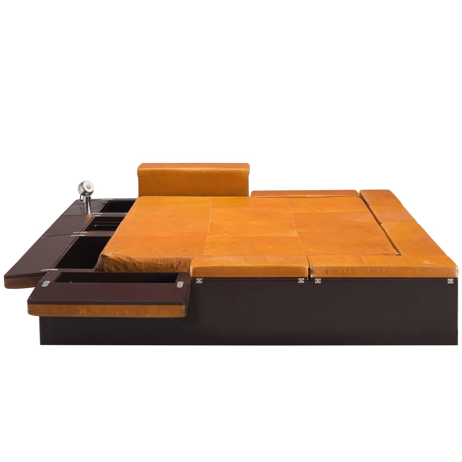 Italian Cognac Leather Bed With Goffredo Reggiani Lamps