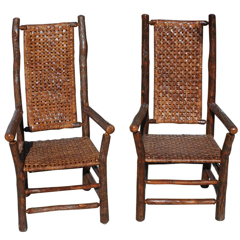 Pair Of Signed Old Hickory Tall Back Armchairs For Sale