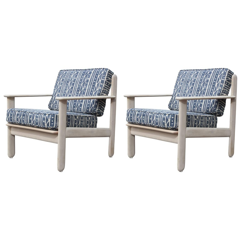 Pair of Modern Bleached Wood Italian Lounge Chairs in Indigo Blue & White Linen