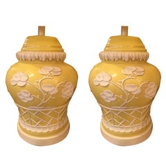 Pair of Midcentury American Yellow and White Chinese Style Lamps