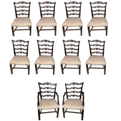 Set of Ten Ladder Back Chippendale Style Dining Chairs