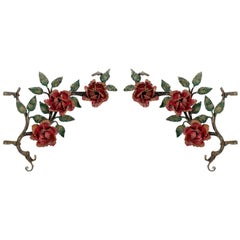 Pair of Decorative Painted Cast Iron Roses