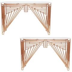 Superb Pair of Custom-Made Copper Art Deco Style Consoles