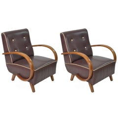 Art Deco Brown Leather Seats and Walnut Wood Armrests Armchairs 1930s