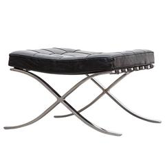 1920s Black Leather Ottoman by Mies van der Rohe