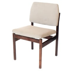 Arredamento Midcentury brazilian Chair in Rosewood with Linen Upholstery, 60s