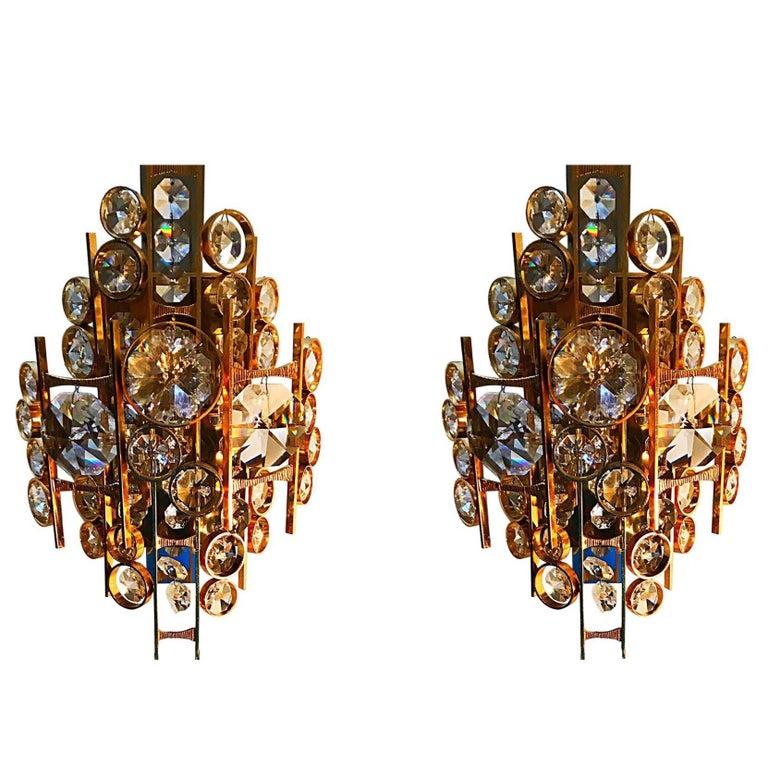 Palwa sconce Jewel Crystal gilt frame pair austria ,1960