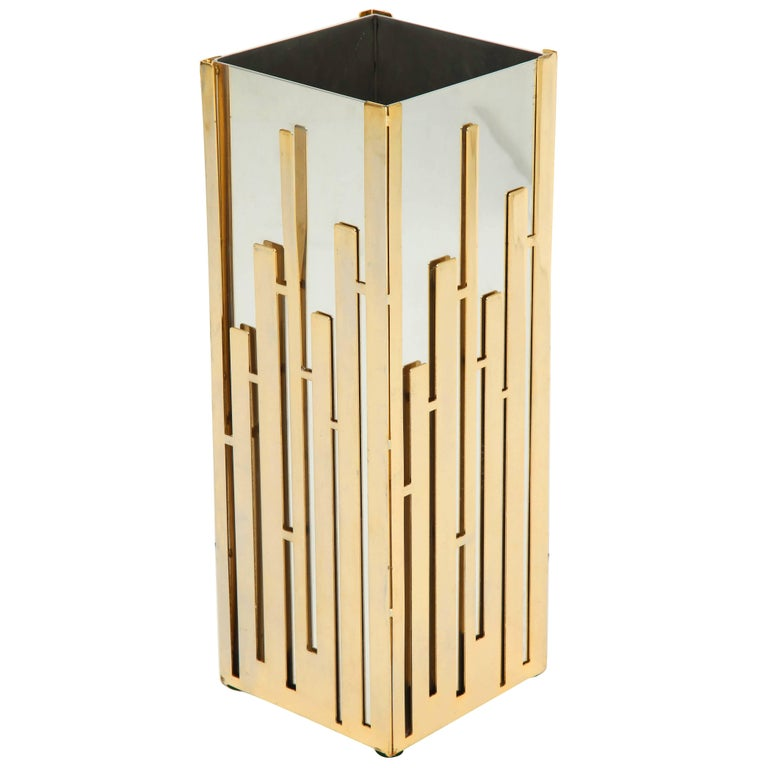 Umbrella Stand in Nickel and Brass  For Sale