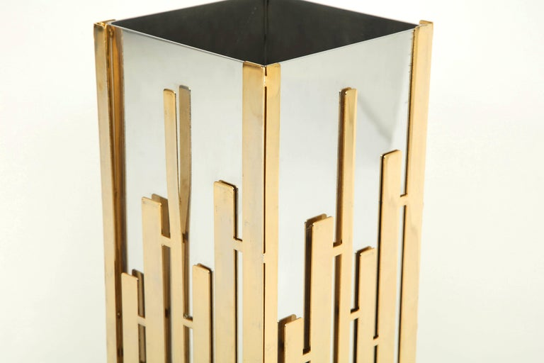 French Umbrella Stand in Nickel and Brass  For Sale