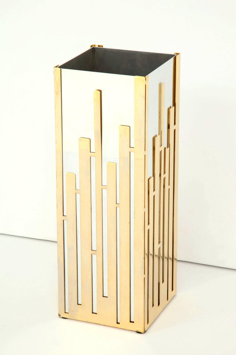 Late 20th Century Umbrella Stand in Nickel and Brass  For Sale