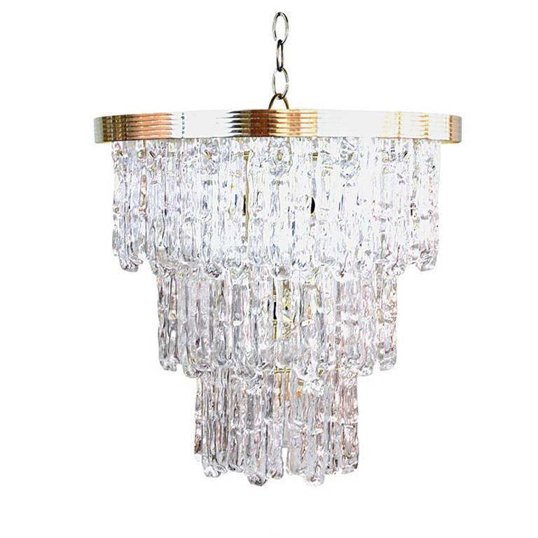 Tiered Lucite Icicle Chandelier 1