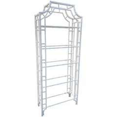 Faux Bamboo Pagoda Etagere with Glass Shelves