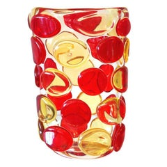 Murano Red and Yellow Button Vase by Camozzo