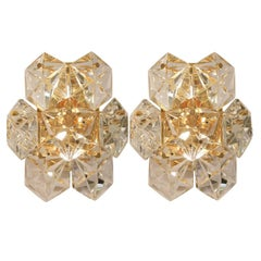 Pair of Faceted Crystal and Gilt Sconces by Kinkeldey, Germany, 1970s