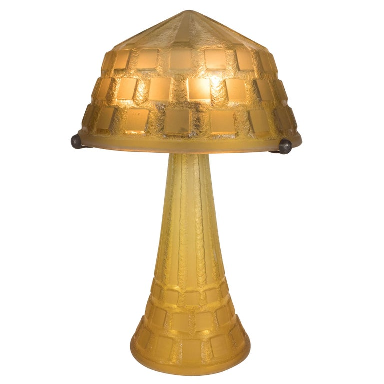 Art deco handmade acid etched glass table lamp bronze supports by art deco handmade acid etched glass table lamp bronze supports by daum for sale aloadofball Gallery
