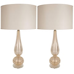 Handblown Modernist Murano Table Lamps with 24-Karat Yellow Gold Flecks