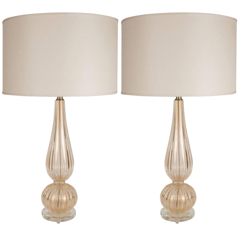 Handblown Modernist Murano Table Lamps with 24-Karat Yellow Gold Flecks