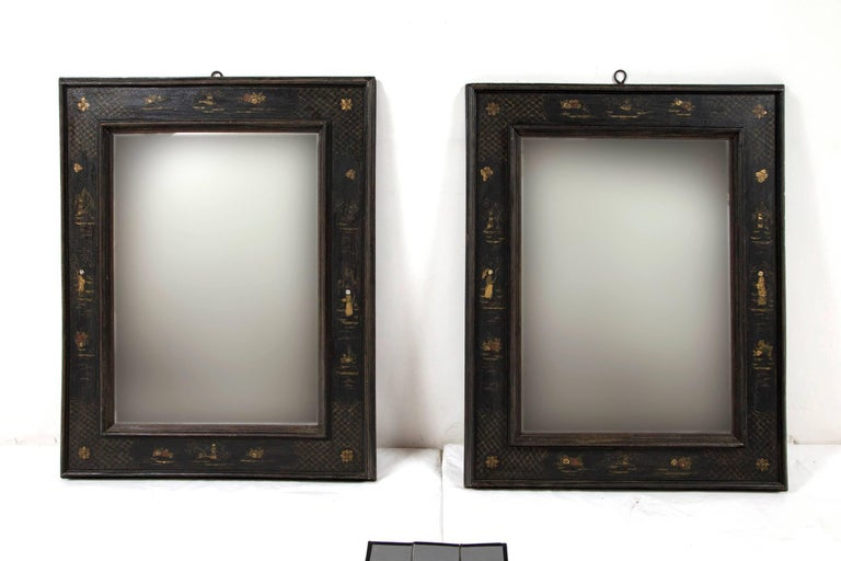 Wood Pair of European Ebonized Chinoiserie Mirrors, 19th Century For Sale