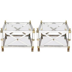 Maison Jansen Directoire Style Chrome and Brass Coffee Tables