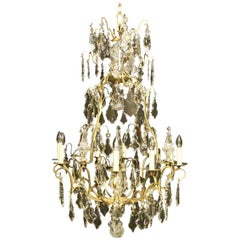 French 19th Century Gilded and Crystal Eight-Light Cage Antique Chandelier
