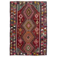 Dazzling Vintage Anatolian Kilim, Flat-Weave Rug