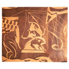 """""""Circus Performers,"""" Brilliant Example of Surrealist Folk Art in Inlaid Wood"""