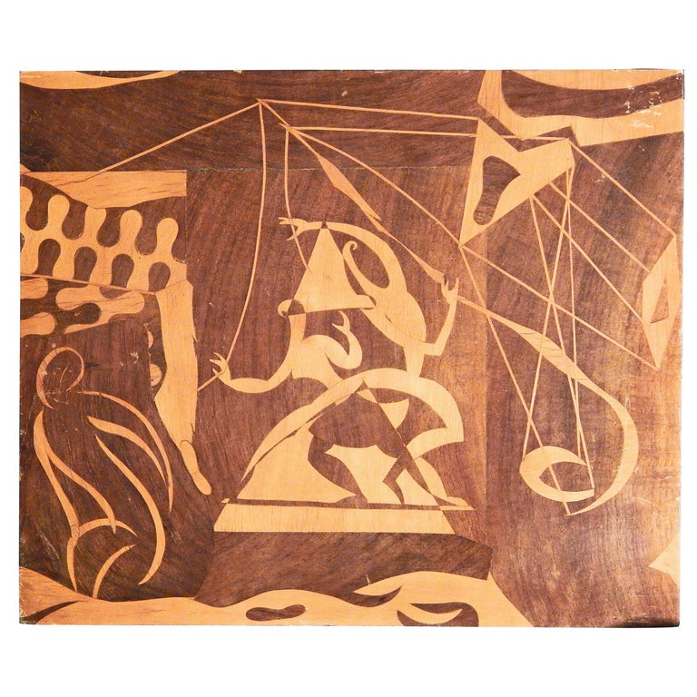 """""""Circus Performers,"""" Brilliant Example of Surrealist Folk Art in Inlaid Wood For Sale"""