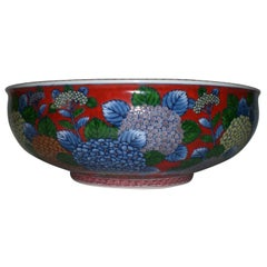 Japanese Contemporary Imari Red Blue Porcelain Bowl/Centerpiece by Master Artist