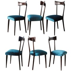 Ico Parisi Six Sculptural Dining Chairs, Fully Restored, Shiny Finish, Velvet