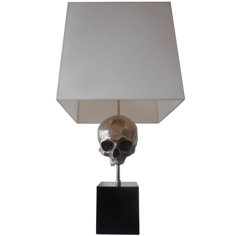 A Silvered Bronze Skull Table Lamp