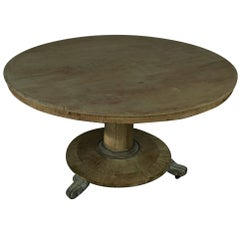 Large Round Antique Bleached Dining Table, English Regency