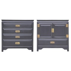 Pair of Chow's Oriental Furniture Co. Black Mismatched Chests