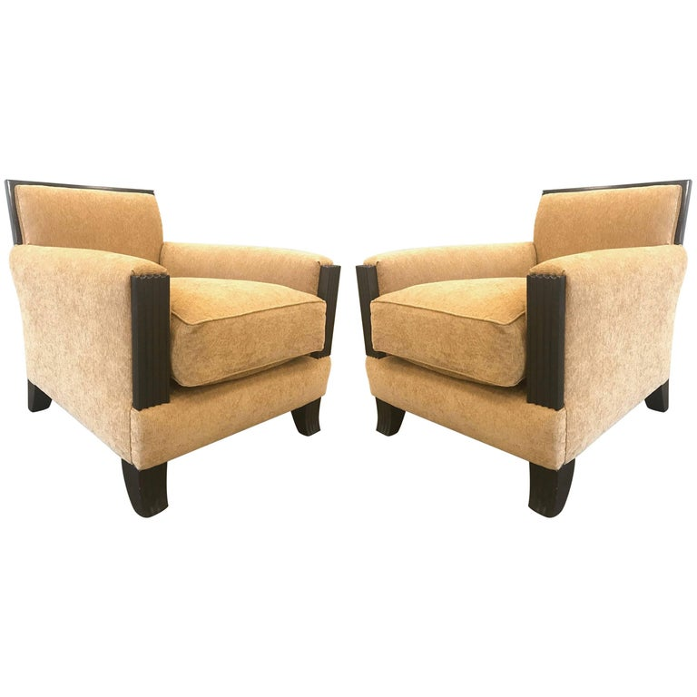 Pair art deco style lounge chairs for sale at 1stdibs for Art deco style lounge