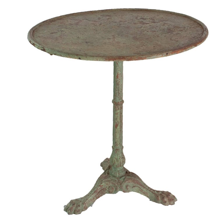 Light Green Painted Cast Iron Gueridon Table For Sale