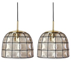 One of a Pair 1960s Black Iron & Glass Honeycomb Bell Pendant Lights by Limburg