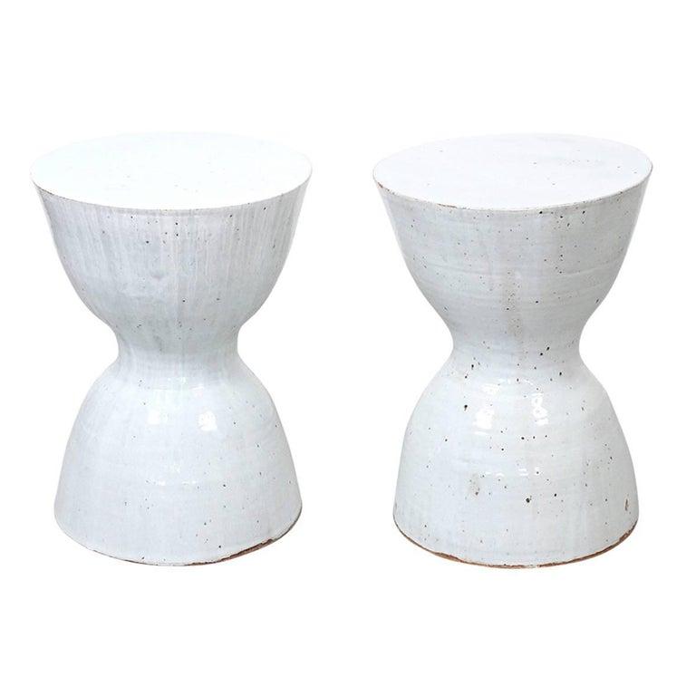 Pair of Tariki Ceramic Stools For Sale