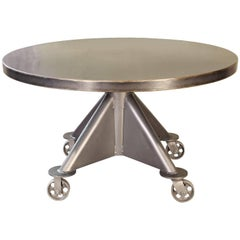 Industrial Steel Round Top Dining Table
