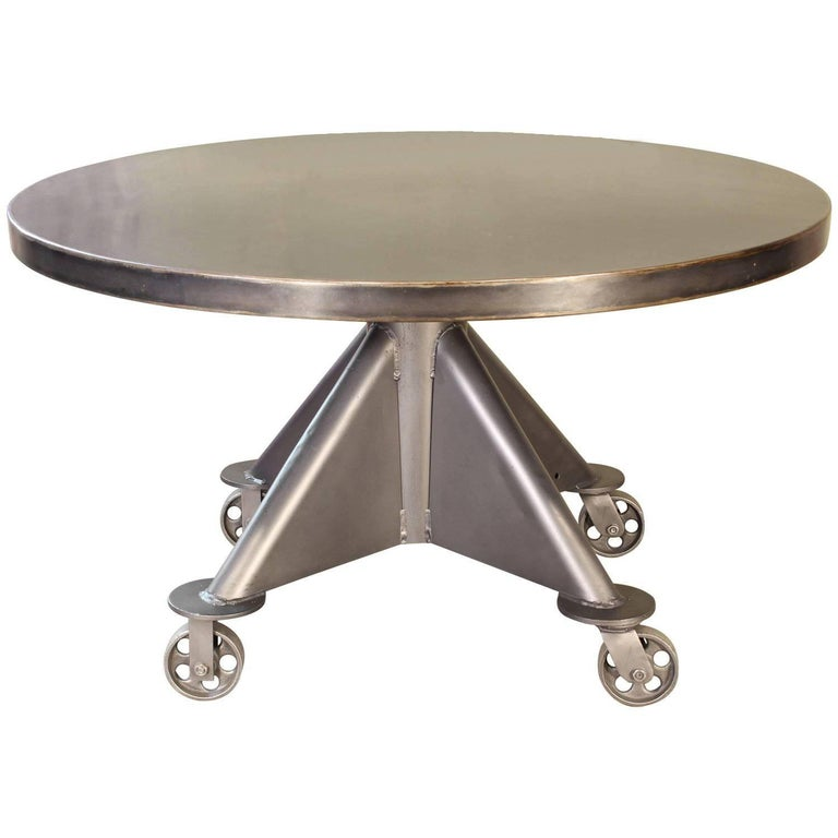Industrial Dining Table - Steel with Round Top For Sale