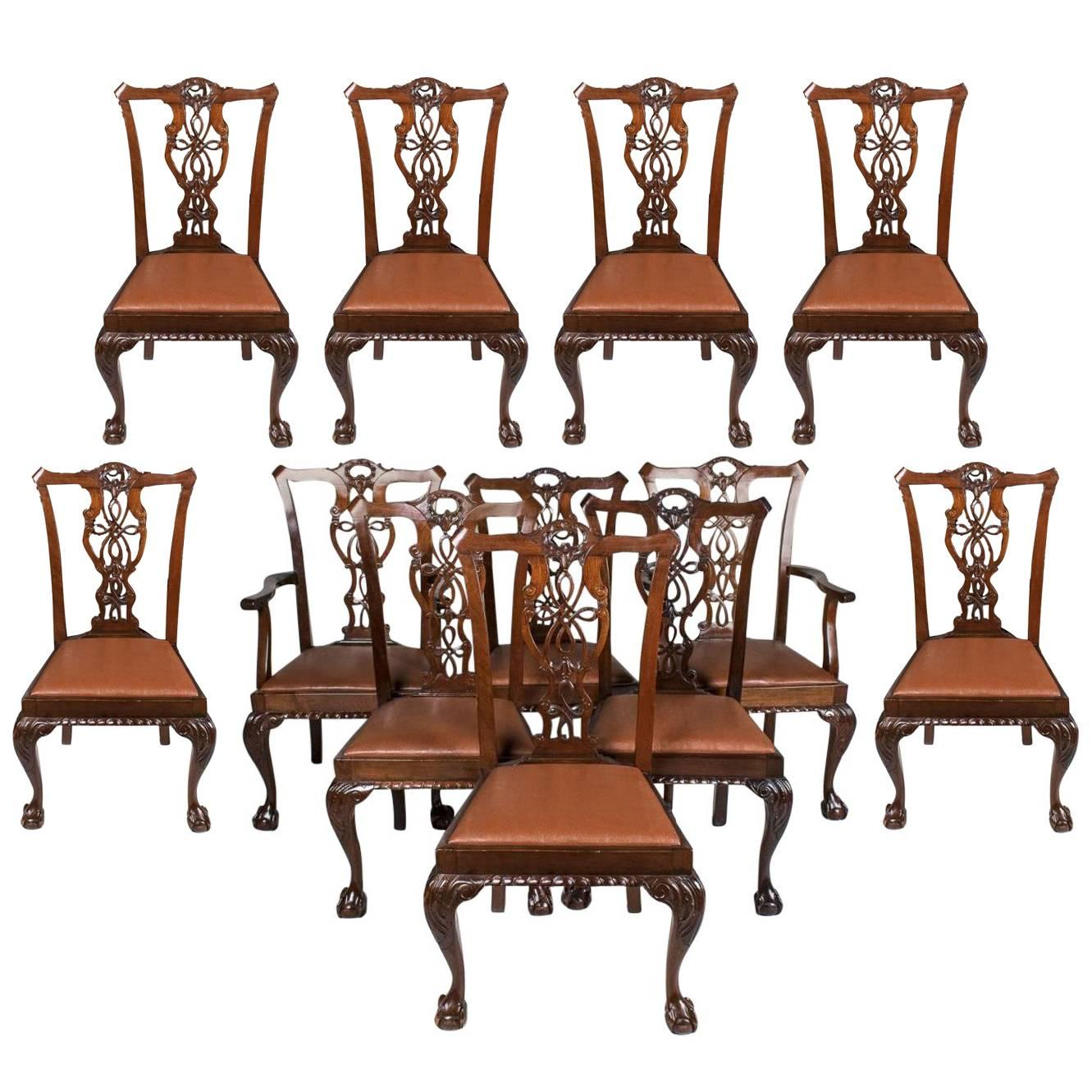 Set Of Twelve 19th Century Walnut Chippendale Chairs, Circa 1860