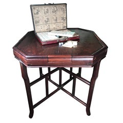 Chinese Antique Gaming Table with Vintage Game, Qing Dynasty, 19th Century